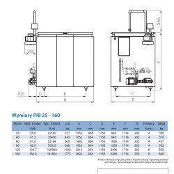 Wymiary akumulatora lodu do schładzania mleka PIB25-160